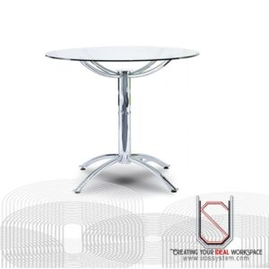 Discussion Table With Chrome Rocket Leg