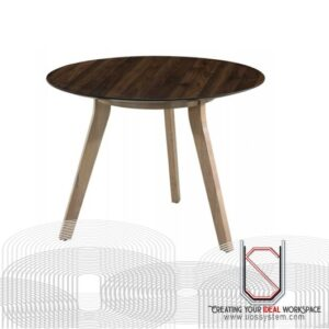 Discussion Table With Wooden Leg